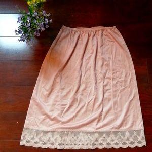 Vintage 1970s Lingerie Silky Skirt Slip Dusty Pink